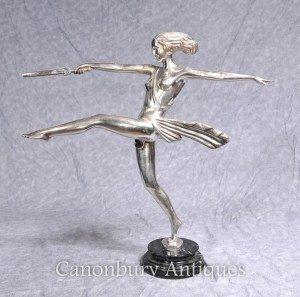 Art Deco Silver Plate Bronze Diana the Hunter Dagger Statue