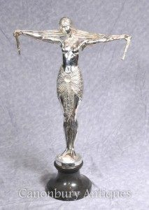 Art Deco Silver Plated Bronze Chiparus Dancer Statue Signed Casting