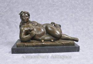 Bronze Botero Figurine Rubenesque Nude Female Statue Signed