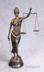 Bronze Lady Justice Statue Scales Legal Justitia Themis