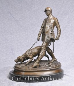 PJ Mene Blood Hound Hunter Statue Casting Man Dog
