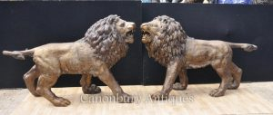 Pair Big Bronze Lions Lion Cat Statues Landseer Gatekeepers Medici