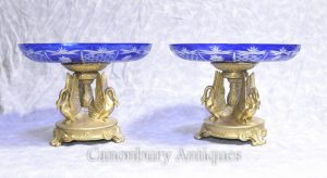 Pair Ormolu French Empire Swan Comports Dishes Signed Milo