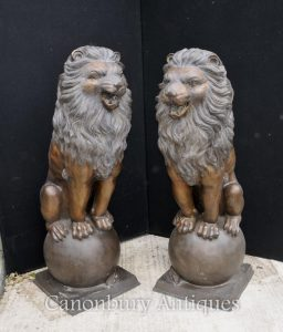 Pair XL Bronze Lion Gatekeeper Statues Lions on Ball Medici