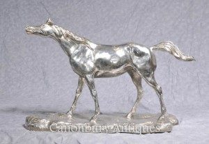 Silver Plated Bronze Horse by PJ Mene French Sculpture Statue