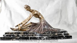 Art Deco Bronze Chiparus Statue Figurine Tanara Dancer Sculpture