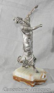 Bronze Deco Statue Spanish Lady Castanets by P Phillipe
