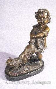 French Bronze Girl and Cat Statue Figurine