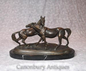 French Bronze Horse Pony Statue by PJ Mene Animal Castings