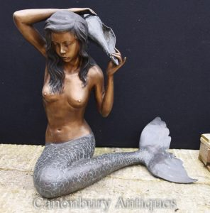 Large Bronze Mermaid Statue Conch Garden Water Feature Architectural