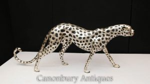 Large Silver Plate Cheetah Statue Art Deco Bronze Cats