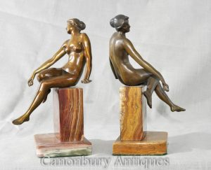 Pair Art Deco Female Figurine Bookends Sculptures Statues Marble