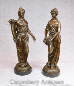 Pair French Bronze Female Maiden Statues Signed Milo Classical Roman Toga