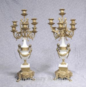 Pair French Empire Marble Ormolu Candelabras Cherub Candles