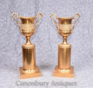 Pair French Empire Ormolu Campana Urns on Pedestal Stand