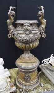 Giant Italian Bronze Garden Urn on Pedestal Classical Maidens Architectural