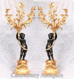 Pair Large French Bronze Cherub Candelabras Manner Clodion