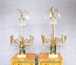 Pair Regency Cut Glass Candelabras Crystal Drops Chandelier Light