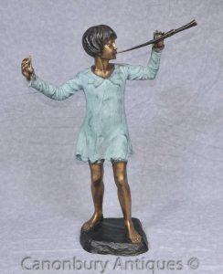 Bronze Statue Peter Pan Figurine JM Barrie Kensington Gardens