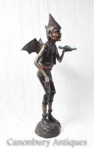 Large Bronze Celtic Pixie Statue Fairey Garden Casting