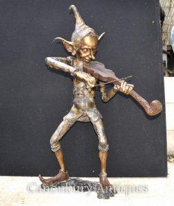 Large Bronze Pixie Violin Player Statue Pixies Elf Sculpture