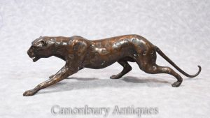 Art Deco Bronze Cheetah Statue Cat Panther Casting