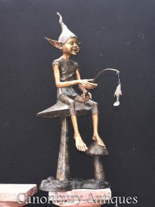 Bronze Fishing Pixie Statue Fairey Elph Pixy