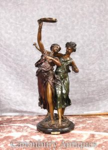 French Bronze Female Bacchus Dancer Figurines by Clodion