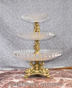 French Empire Ormolu Glass Tiered Cake Stand Dish Tureen Cherub