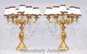 Pair French Empire Gilt Table Lamps Lights Candelabras