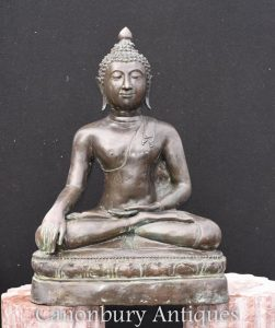 Bronze Nepalese Buddha Statue Meditation Lotus Pose Buddhist Art