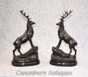 Pair Bronze Stag Statues - French Stags Signed Moigniez